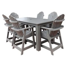 Outdoor Highwood Hamilton Recycled Plastic 7 Piece Rectangle Counter Height Adirondack Patio Dining Set - AD-CNA37-