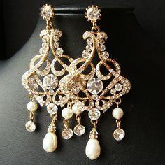 GOLD Chandelier Bridal Wedding Earrings, Statement Gold Bridal Earrings, Vintage Style Rhinestone Earrings, Pearl Drop Earrings, ALESSANDRA. $88.00, via Etsy.