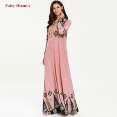 Women Abaya Dubai Moroccan Turkish Turkey Muslim Dress Bangladesh Kaftan Print Plus Size Pink Islamic Clothing Long Sleeve Robe Dress P, Pink Dress, Dress Long, Muslim Dress, Islamic Clothing, Floral Print Maxi Dress, Fashion Wear, Kaftan, Clothes For Women
