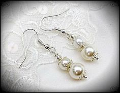 Double Pearl Earrings Bridal Jewelry Faux Cream by JewelryTarget, £8.00