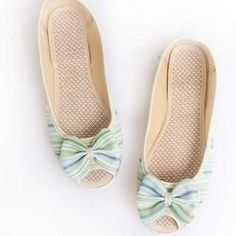 Peep-Toe Bow-Accent Striped Flats from #YesStyle <3 Pangmama YesStyle.com