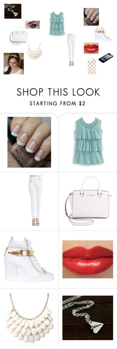 Untitled #110 by madisonnetz on Polyvore featuring Wet Seal, Giuseppe Zanotti, MICHAEL Michael Kors, Kate Spade, OPI and Eos