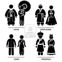 East Asia - Japan South Korea China Mongolia Man Woman People National Traditional Costume Dress Clothing Icon Symbol Sign Pictogram Stock Photo