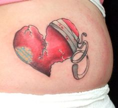 heart and chain tattoos with broken key | Injured Heart On Waist -------------------------------------------------------- the left half…I love how destroyed it looks...