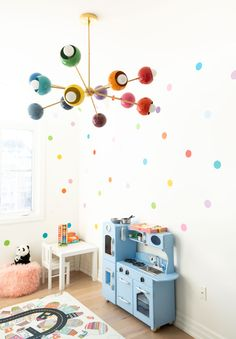 Fantastic 38 Inspiring Girl's Playroom Design Ideas Girls' playroom should be a room in the house where a girl can have fun and enjoy having their own space. Most parents love that they can get their child's toys. Blue Playroom, Playroom Design, Playroom Decor, Home Decor Bedroom, Kids Bedroom, Nursery Decor, Playroom Ideas, Rainbow Bedroom, Mid Century Modern Lighting
