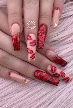 Awesome Cute acrylic nails are offered on our web pages. Read more and you will not be sorry you did. Valentine's Day Nail Designs, Cute Acrylic Nail Designs, Nail Designs Bling, Heart Nail Designs, White Nail Designs, Nails Design, Red Acrylic Nails, Summer Acrylic Nails, Pink Acrylics
