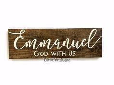 Emmanuel God with Us Christmas Signs, Christmas Themes, Christmas Holidays, Christmas Decorations, Handmade Shop, Etsy Handmade, Handmade Items, Christian Christmas, Christmas Time Is Here