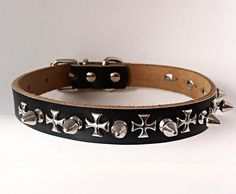 Spiked  Black Genuine Leather Dog Collar with Silver Cross Detail - Medium Studded by ToxifyDesigns on Etsy