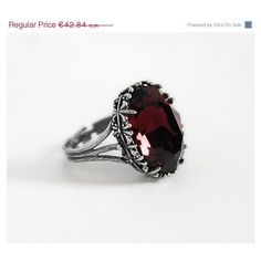 30%OFF Gothic Ring Red Ring Burgundy Ring Swarovski Crystal Ring... (100 BRL) ❤ liked on Polyvore featuring jewelry, rings, victorian jewellery, gothic rings, gothic engagement rings, red engagement rings and victorian ring