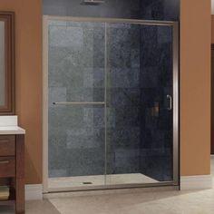 DreamLine Infinity-Z 56 in. to 60 in. x 72 in. Frameless Sliding Shower Door in Brushed Nickel - SHDR-0960720-04 - The Home Depot