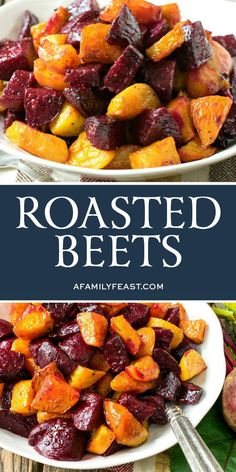 Roasted Beets A Family Feast® is part of Roasted beets recipe - Made with red or golden beets (or a mix of both colors like we do), this easy Roasted Beets side dish is simple to prepare and delicious! Golden Beets Recipe, Roasted Beets Recipe, Roasted Beets And Carrots, Roasted Root Vegetables, Fresh Red Beets Recipe, Red Vegetables, Roasted Beet Salad, Healthy Side Dishes, Side Dishes