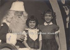 Vintage Christmas Photo Girls Visit Department Store Santa 1950s