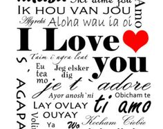 Customizable wall art print - I love you in 27 languages -  red, white, and black or choose the colors - love - wedding - valentines day