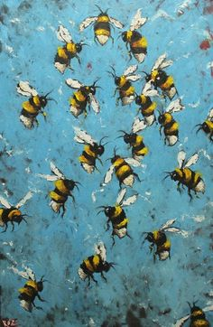 Bee painting - original oil painting by Roz by RozArt