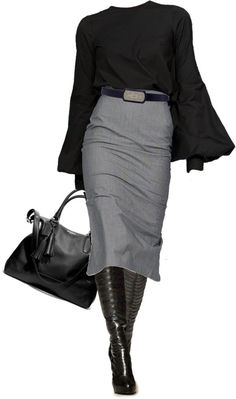 """Forever Young"" by johnna-cameron. Grey tweed skirt, black blouse and black cardigan with tall boots or dark hose/heels combo."