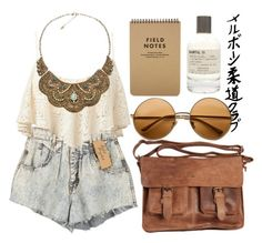 """chillin"" by youremydeadlypoison ❤ liked on Polyvore featuring Rowallan, Forever 21, Le Labo, Accessorize, lace, high-waisted denim shorts, multi-strand necklaces, acetate sunglasses, perfume and notes"