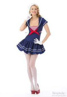 Adult Misses' Patriotic Sailor Costume Sewing Pattern #Halloween #SimplicityPatterns
