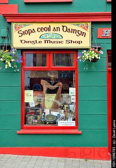The Irish harp pride of place in the window of the Dingle Music Shop Dingle town on the Dingle...