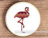 Flamingo - PDF counted cross stitch pattern - Geometric - Tribal - Africa - Coral pink