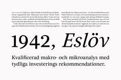 Typography for Sweden's leading private banking firm Erik Penser Bank designed by Bedow and Íñigo López Vázquez