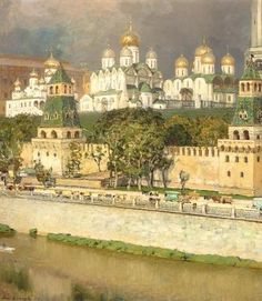 Cathedrals of the Moscow Kremlin, 1894 (oil on canvas) by Mikhailovich Apollinari Vasnetov / Private Collection
