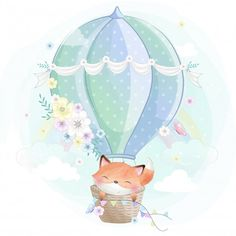 Cute Little Foxy In The Air Balloon, Watercolor, Birthday, Baby PNG and Vector with Transparent Back Ballon Illustration, Cute Animal Illustration, Colorful Drawings, Cute Drawings, Cartoon Kids, Cute Cartoon, Hot Air Balloon Cartoon, Adobe Illustrator, Scrapbooking Image
