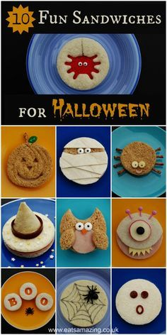 10 Fun Sandwich Ideas for the Kids this Halloween - Great for themed school lunches and for party food too