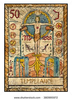 XIV. Temperance - The old tarot card by Vera Petruk.  Water bearer or young man pouring water from two jars. Aquarius.