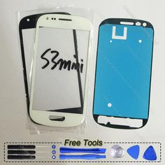 Outer Front Lens Touch Screen Glass Panel For Samsung Galaxy S3 mini i8190 with adhesive Tools Blue