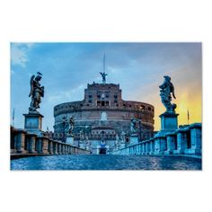 Ponte Sant'Angelo at dawn - Rome Italy Poster Travel Wall Decor, Rome Italy, Custom Posters, Travel Destinations, Sunrise, Places To Visit, Castle, Dawn, Vacation