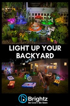 Make your backyard the talk of the neighborhood with Brightz! Available in a variety of colors and styles, there are plenty of ways to light up your coolers, patio umbrellas, cornhole boards, and more. Use them in your garden or to light up your deck rail Backyard Projects, Outdoor Projects, Garden Projects, Pallet Projects, Backyard Lighting, Outdoor Lighting, Outdoor Entertaining, Outdoor Fun, Outdoor Ideas