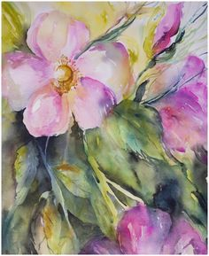 Spray of Wild Roses | watercolour by Angela Fehr http://angelafehr.com