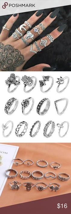 Trendy 13pcs / Set Bohemian Knuckle Midi Rings Trendy 13pcs / Set Bohemian Lady Suit Ring Elephant hand of Fatima moon Diamond Carving Ring. Jewelry Rings