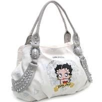 White Studded Betty Boop shoulder bag/purse w/heart and rhinestone embroidery