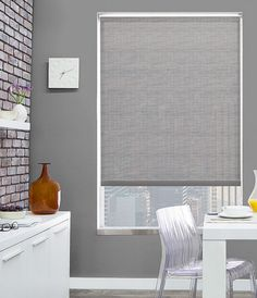 Stylish UV protection with Chilewich Solar Shades. Shown in material Bamboo, color Chalk. | The Shade Store