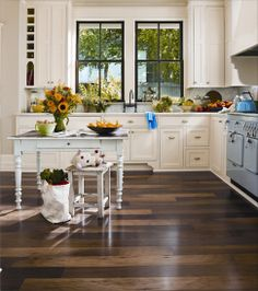 Kitchen Flooring Wood Sunflower Doll: Flooring is little dark, but I like the contrast