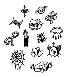 Kritzelei Tattoo, Grunge Tattoo, Doodle Tattoo, Cute Tiny Tattoos, Mini Tattoos, Small Tattoos, Cool Tattoos, Retro Tattoos, Tattoo Sketches