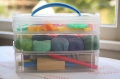 great way to store some play dough if you ask me! I love organized things :)