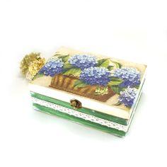 Blue Hydrangea Wooden BoxdecoupageBox for jewelry by Alenahandmade, $50.00