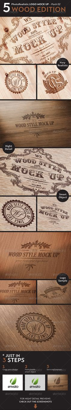 5 Realistic Logo Mock Up - WOOD Edition - Creative_Particles on graphicriver, $7