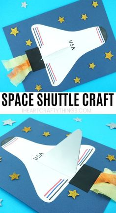 How to Make a Space Shuttle Paper Craft | Easy space craft for kids! Outer Space Crafts For Kids, Space Activities For Kids, Space Preschool, Summer Crafts For Kids, Preschool Crafts, Planets Activities, Craft Activities, Space Solar System, Solar System Crafts