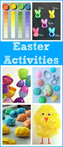 16 fun Easter activities for toddlers, preschoolers, and elementary-aged kids. Literacy, fine motor, math, sensory, arts/crafts - tons of ideas for Easter!
