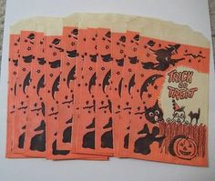 Lot of 11 Vintage 1950s/1960s HALLOWEEN TRICK OR TREAT Bags Witch Boy JOL Cat