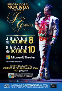 Juan Gabriel este 10 de Octubre en el Microsoft Theater. (Bienvenidos Al Noa Noa Gira 2015)
