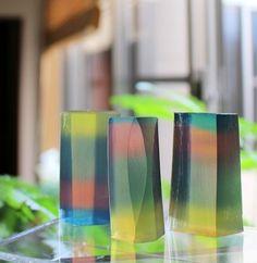 虹色の透明石鹸 4色グラデーション  新潟 手作り石鹸の作り方教室 アロマセラピーのやさしい時間