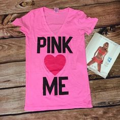Pink Shirt Pink❤️Me! This shirt is so cute!! It's 27 1/2 inches long with a 16 inch waist and a 7 1/2 inch v-neck (measured laying flat). It's so comfy and stretchy! PINK Victoria's Secret Tops Tees - Short Sleeve