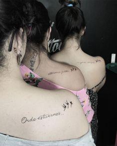 Tatuagem criada por Rud Tattoo de Catanduva, SP.    Frase no ombro feita entre amigas.