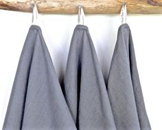 "Grey Linen Towels (3), Eco friendly towels, Linen Kitchen Towels, Grey Linen Hand Towels, Grey linen dish towels, grey linen tea towels.  SET OF 3 towls, 18""x 26 (washed/ pre shrunk).  OEKO TEX certified, 100% environmentally friendly, a fair trade linen, sourced from well-established European mills. Shown is Steel, available in 6 additional colors (last pic.)  WHAT CUSTOMERS SAY:  These towels are great. Good weight and size and nicely finished. Definitely recommend them for the kitchen..."