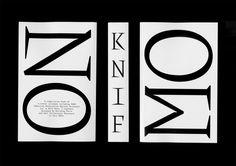 Knif mono v.01, 730 pages, 140 × 215 mm. Lors de mon stage au sein du studio Building Paris à l'été 2015, j'ai dessiné pour leurs besoins futurs un caractère typographique à chasse constante. À cette occasion et pour éprouver le...