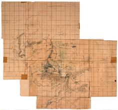 """""""The 'First Map' of Middle-earth"""" This was Tolkien's master reference map. His son Christopher Tolkien called it """"strange, battered, fascinating, extremely complicated."""" Its layers of sheets and corrections """"reacted,"""" he said, to the story in progress. Courtesy of the Bodleian Libraries, University of Oxford"""